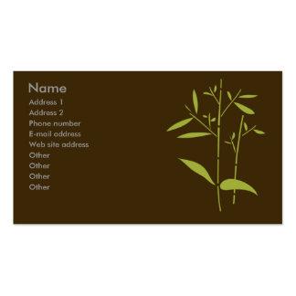 Cartão de visita do monograma - bambu