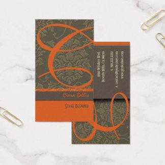 Cartão de visita do monograma do damasco