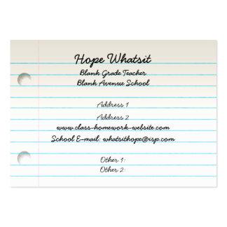Cartão de visita do negócio do professor