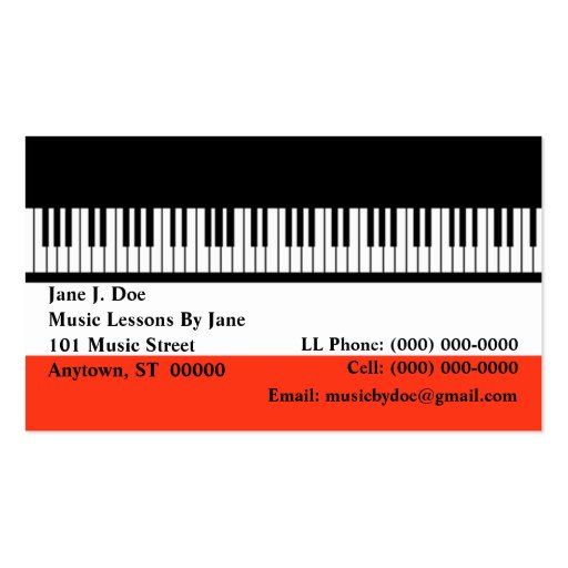 Cartão de visita do órgão dos teclados do teclado