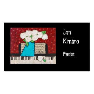 cartão de visita do pianista com flores e teclado