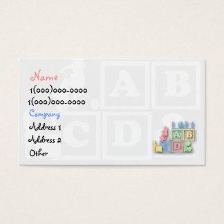 Cartão de visita do pré-escolar da puericultura