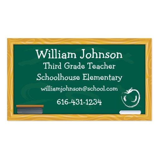 Cartão de visita do professor do quadro da escola