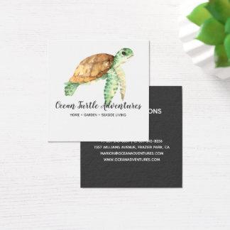Cartão de visita do quadrado da tartaruga de mar
