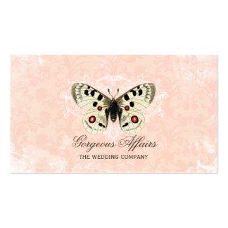 Cartão de visita do rosa da borboleta do vintage