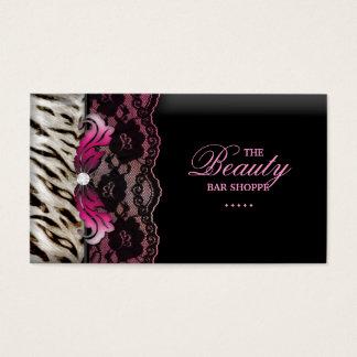 Cartão de visita do rosa do laço da zebra da jóia