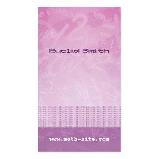 Cartão de visita do roxo do rosa das equações da m