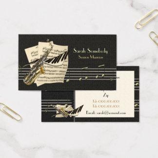 Cartão de visita do saxofone & da música do piano