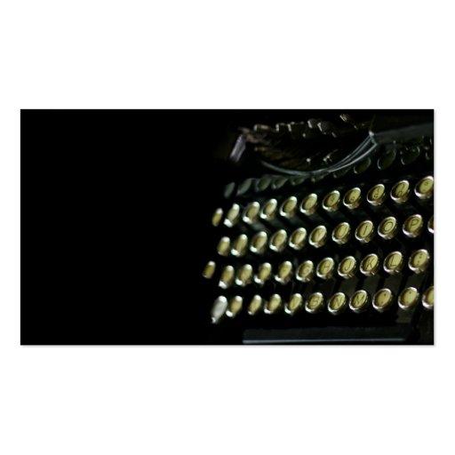Cartão de visita do teclado de máquina de escrever