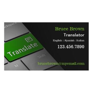 Cartão de visita do tradutor do teclado de