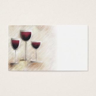 Cartão de visita do trio do vidro de vinho tinto