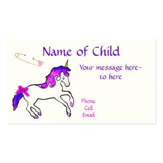 Cartão de visita do unicórnio das crianças