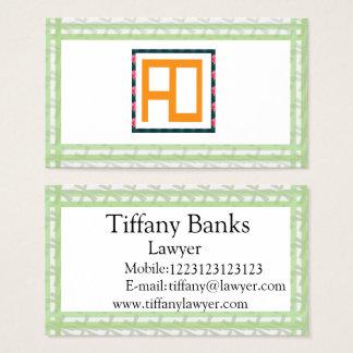 Cartão de visita do verde do advogado de