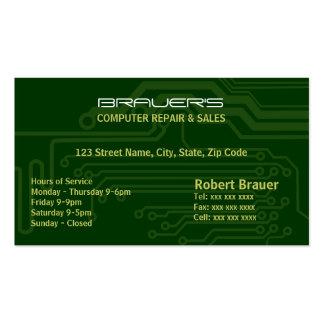 Cartão de visita do verde do conselho de circuito