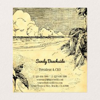 Cartão de visita dobrado da praia do vintage