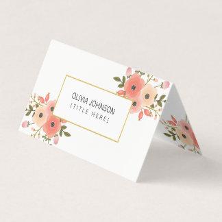 Cartão de visita dobrado floral elegante
