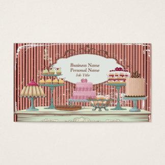 Cartão de visita doce retro do bar da padaria dos