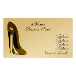 Cartão de visita dos calçados do estilete do ouro