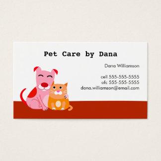 Cartão de visita dos cuidados dos animais de