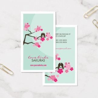 Cartão de visita dos pássaros do amor de Sakura