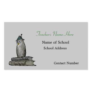 Cartão de visita dos professores da coruja do vint