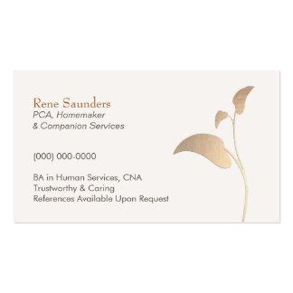 Cartão de visita dos serviços do cuidador e do com