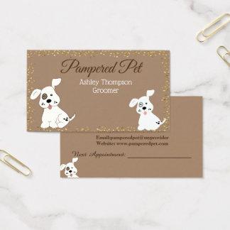 Cartão de visita dos termas do cão do Groomer do