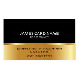Cartão de visita dourado preto simples