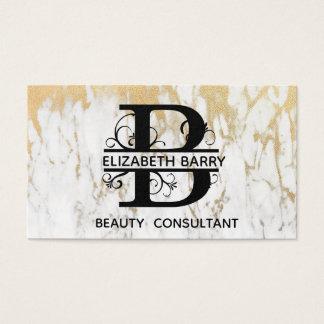 Cartão de visita elegante da letra B do mármore do