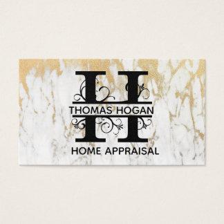 Cartão de visita elegante da letra H do mármore do