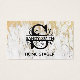 Cartão de visita elegante da letra S do mármore do