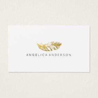Cartão de visita elegante da pena do ouro