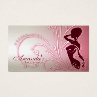 Cartão de visita elegante da senhora cor-de-rosa