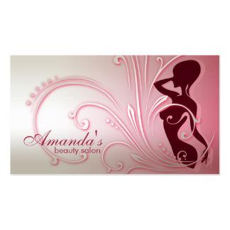 Cartão de visita elegante da senhora cor-de-rosa s