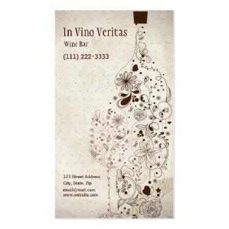 Cartão de visita elegante do bar de vinho do vinta