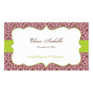 Cartão de visita elegante do damasco