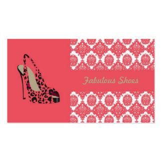 Cartão de visita elegante do damasco para sapatos