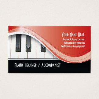 Cartão de visita elegante do professor de piano