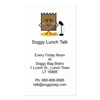 Cartão de visita empapado do saco do almoço