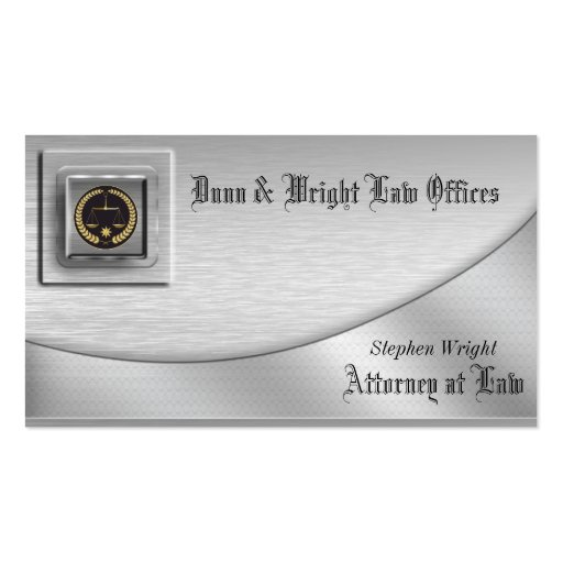 Cartão de visita escovado do advogado da platina