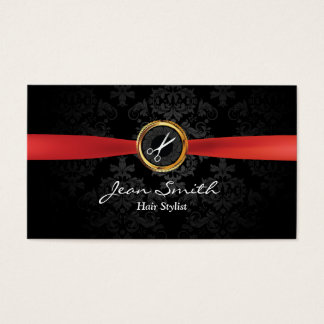 Cartão de visita escuro do cabeleireiro do damasco
