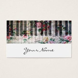 cartão de visita feminino da música do vintage do