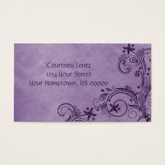 Cartão de visita floral afligido 02 roxos