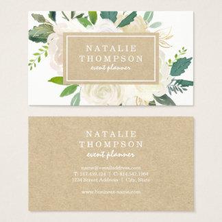Cartão de visita floral botânico elegante