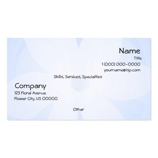 Cartão de visita floral branco azul do fulgor