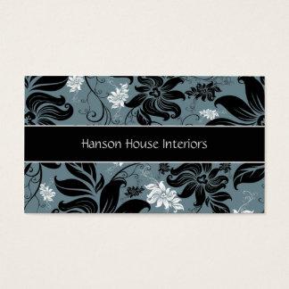 Cartão de visita floral branco azul preto elegante