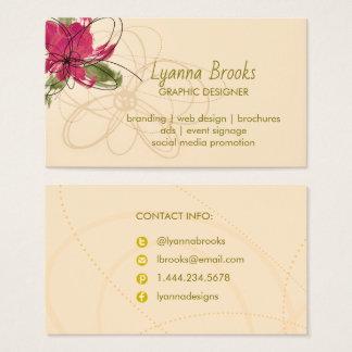 Cartão de visita floral carmesim bege