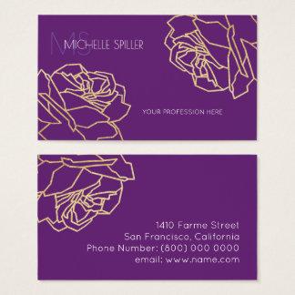 cartão de visita floral com os rosas esboçados no
