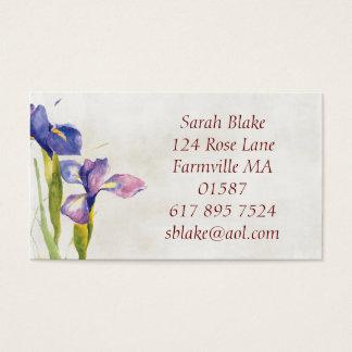 Cartão de visita floral da aguarela da íris