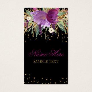 Cartão de visita floral da ametista do brilho